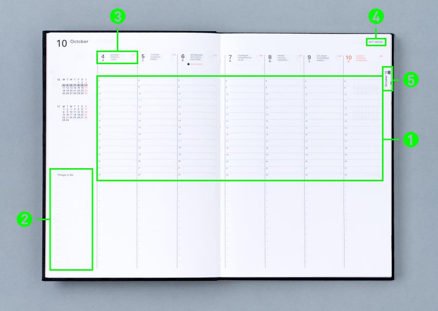 Delfonics Diary 10月始まり Weekly Vertical(Type C)